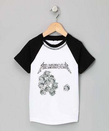 White 'Milkaholic' Raglan Tee - Toddler & Boys