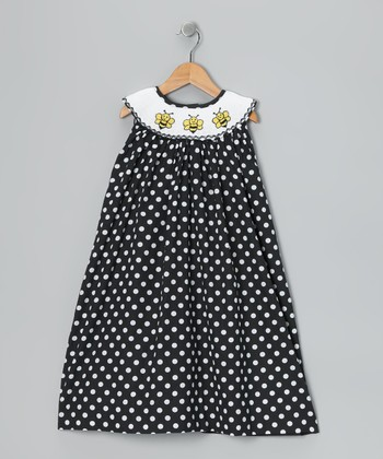 Black Polka Dot Bumble Bee Yoke Dress - Infant & Toddler