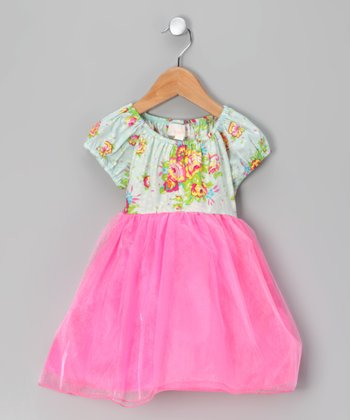 Green Floral Bouquet Peasant Dress - Infant, Toddler & Girls