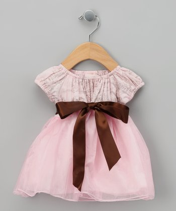 Pink Toile Formal Peasant Dress - Toddler & Girls