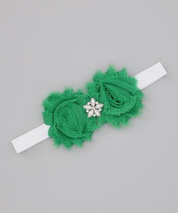 Green Star Shabby Headband