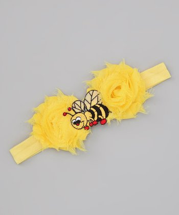 Lil Miss Sweet Pea Yellow Bumble Bee Headband