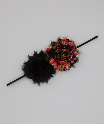 Lil Miss Sweet Pea Red & Black Floral Headband