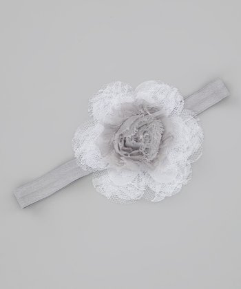 Gray & White Lace Shabby Headband