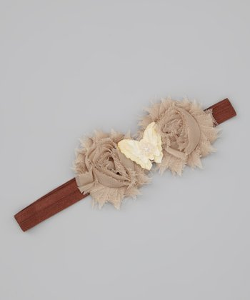 Lil Miss Sweet Pea Tan Butterfly Headband