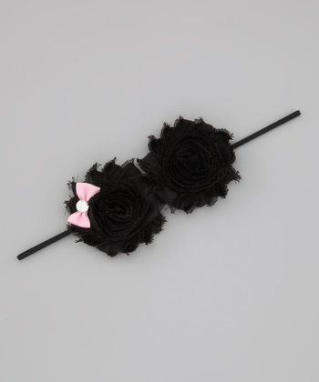 Lil Miss Sweet Pea Black & Pink Little Bow Shabby Headband