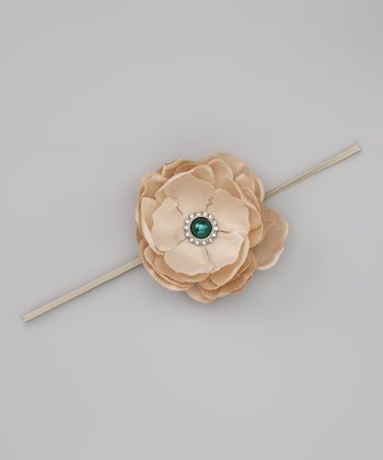 Lil Miss Sweet Pea Dark Beige Flower Headband