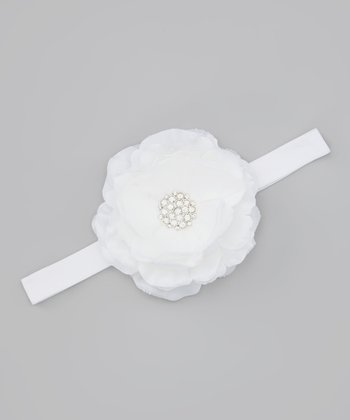 Lil Miss Sweet Pea White Flower Headband