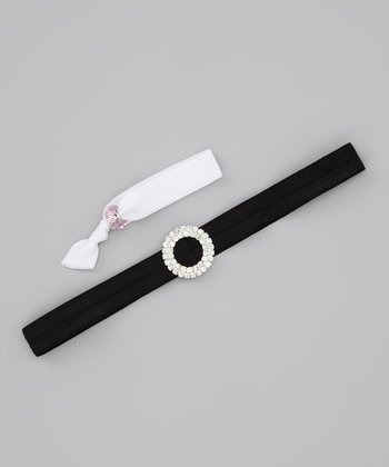 Lil Miss Sweet Pea Black Bling Headband & White Hair Tie