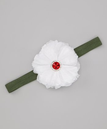 Lil Miss Sweet Pea White & Green Holiday Sparkle Headband