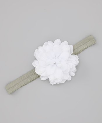 Green & White Fluffy Headband