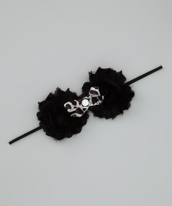 Lil Miss Sweet Pea Black Cheetah Bow Shabby Headband