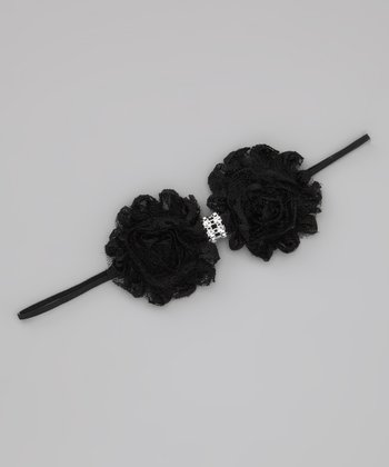 Lil Miss Sweet Pea Black Lace Shabby Headband
