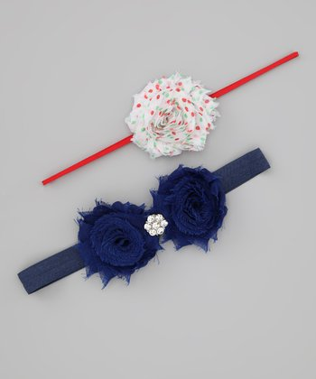 Lil Miss Sweet Pea Navy & Red Polka Dot Shabby Headband Set