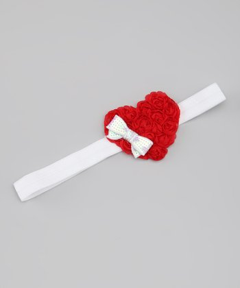 Red & White Rosette Heart Sequin Bow Headband