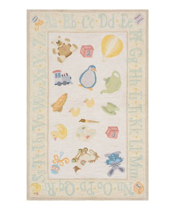 Pale Yellow ABC Border Rug