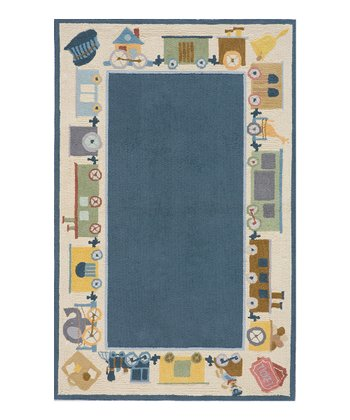 Blue Train Border Rug