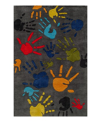 Gray Finger Paint Rug