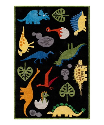 Black Friendly Dinosaur Rug