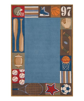 Denim Sports Border Rug