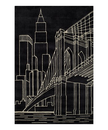 Black Brooklyn Bridge Rug