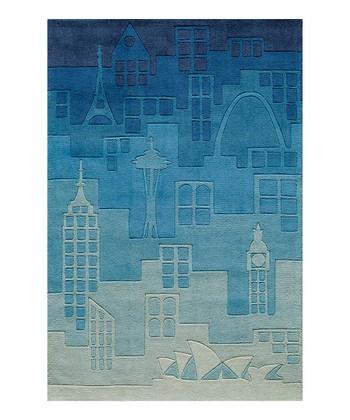 Blue Urban Landscape Rug
