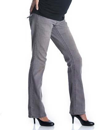Gray Flap-Pocket Maternity Bootcut Jeans