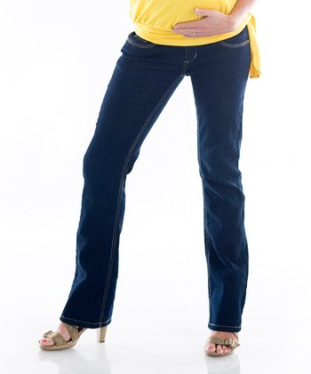 Dark Wash Denim Maternity Bootcut Jeans