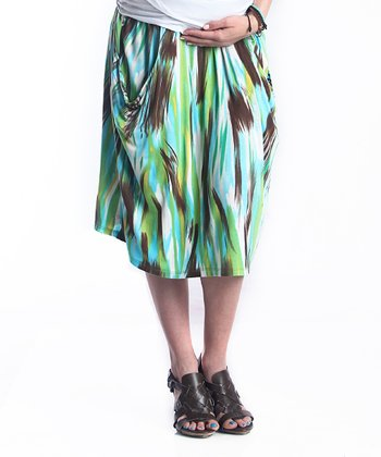 Green Abstract Kerianne Maternity Skirt