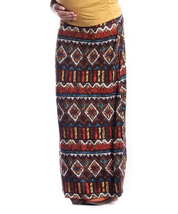 Yellow Aztec Convertible Maternity Maxi Skirt
