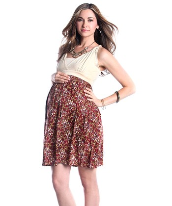Cream & Burgundy Floral Surplice Maternity Dress