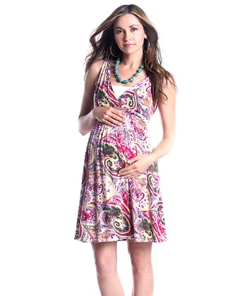 Pink Paisley Surplice Maternity Dress