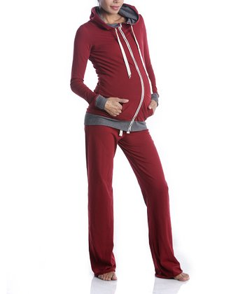 Red Maternity Zip-Up Hoodie & Lounge Pants