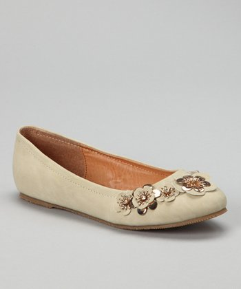 Beige Jovie-10 Flower Flat