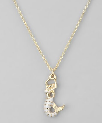 Gold & White Mermaid Necklace