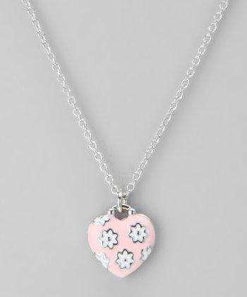 Silver & Pink Daisy Heart Necklace