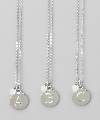 Silver Round Initial Necklace