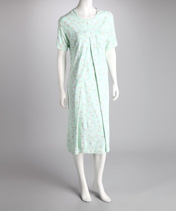 Lilli Rue White & Green Sweet Flowers Nursing Nightgown