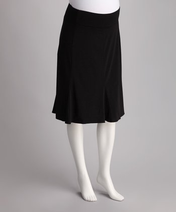 Black Knee-Length A-Line Maternity Skirt