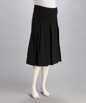 Black Mid-Belly Box-Pleated Maternity Skirt