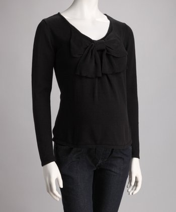 Black Maternity Bow Sweater