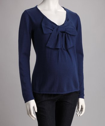 Blue Maternity Bow Sweater