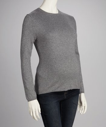 Heather Gray Maternity Crewneck Sweater - Women