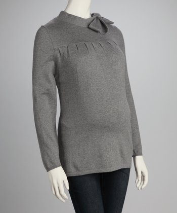 Heather Gray Maternity Bow Sweater