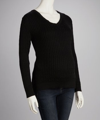 Black Cable-Knit Maternity V-Neck Sweater