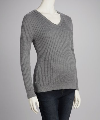 Gray Cable-Knit Maternity V-Neck Sweater