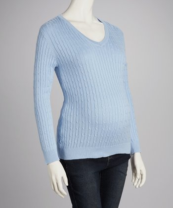 Light Blue Cable-Knit Maternity V-Neck Sweater - Women