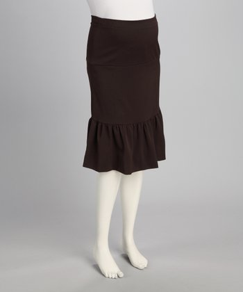 Brown Over-Belly Maternity Gathered Skirt - Women