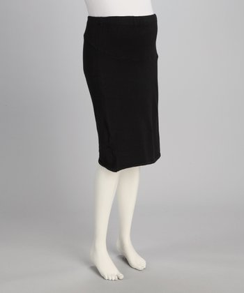 Black Over-Belly Knit Maternity Skirt - Women