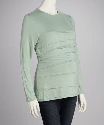 Sage Tiered Maternity Top
